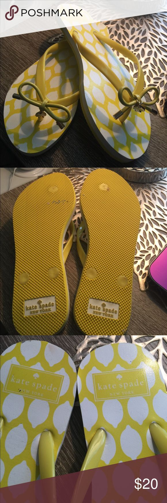 KATE SPADE flip flops! Cute Summer flip flops by Kate Spade. New with no tags. Gold spade accents on how on each foot & designer stamp on heels area and bottom of shoe. Never worn as you can see from bottom picture. Clear out sale! Kate Spade Shoes