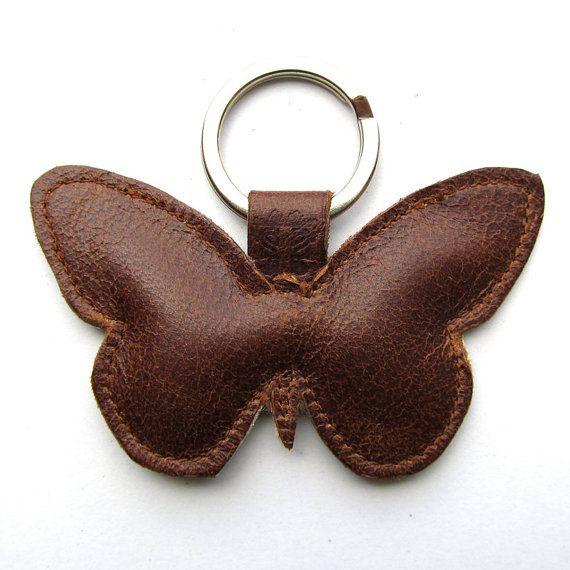 Cuero mariposa llavero llavero de la mariposa mariposa charm