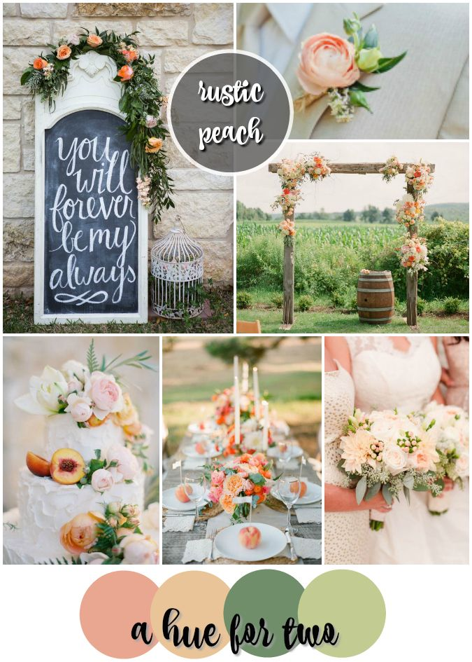 Peach and Sage Rustic Wedding Colour Scheme - Summer, Rustic Weddings - Wedding Colours - A Hue For Two   www.ahuefortwo.com
