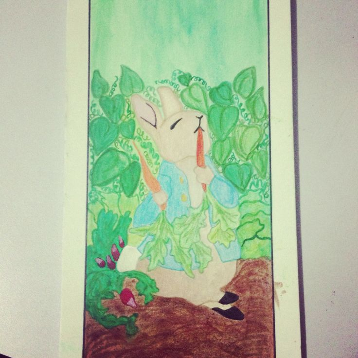 Markers, ink, and pencil crayon on illustration board. Peter Rabbit bookmark.