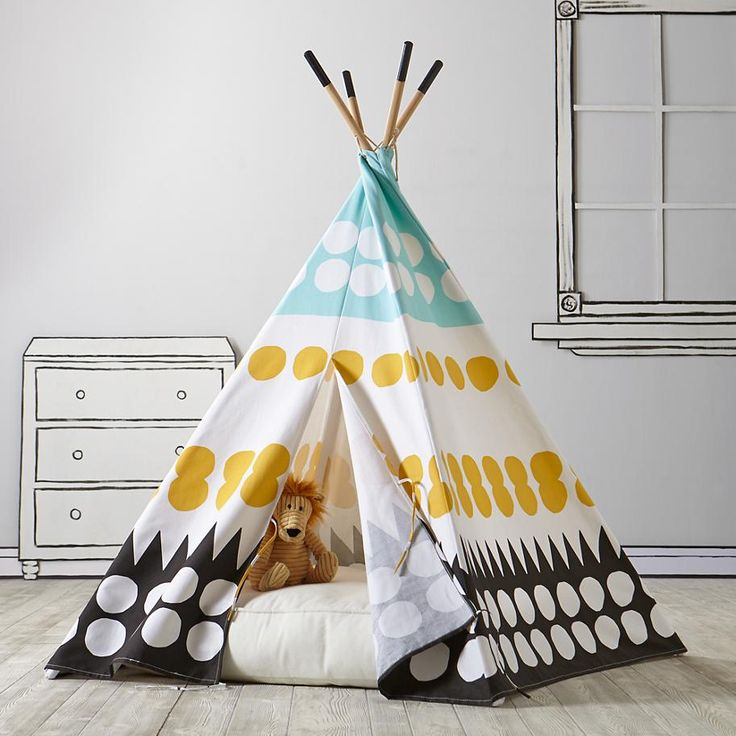 Create a playspace anyplace with a teepee. By choosing a playhouse that's both functional and chic, you can add interest to your living space, while also keeping the little ones busy.