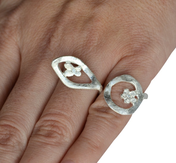 """Ring """"Double Flower""""   Silver 925 Double Chevalier Ring with zircon."""