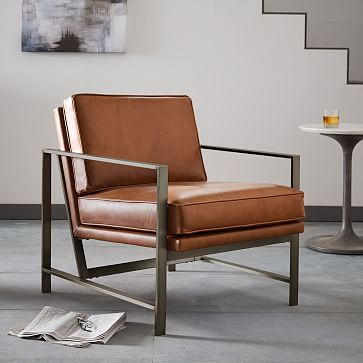 Metal Frame Leather Chair - Liked @ Homescapes Home Staging www.homescapes-sd.com #contemporarychair