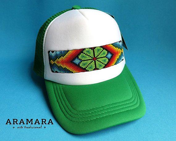 Huichol Beaded Pet, Trucker hoed, Baseball Cap, Snapback cap, Beaded hoed, aangepaste initiaal, Mexicaanse hoed, Mexicaanse jewerly, Mexicaanse volkskunst GR-003