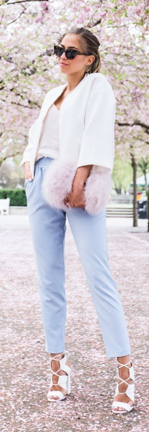 Baby Blue Pants Streetstyle by Kenzas