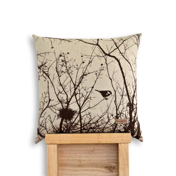 Winter Nest Cushion Cover in Chocolate Brown or by TheWiggleTree