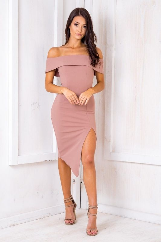 This dress is simply WOOOOWWW! Featuring a body hugging fit, off the shoulder design and sexy split detail in the front of the dress. Style it with heels and a simply nude clutch. Size 8, Length:87cm Width: 32cmPolyester Cold Hand Wash Only Model wears a size 8 Model's height 175cm  Imported A slight variation may occur in colours and size specifications. Colours may appear slightly different via website due to computer picture resolution and monitor settings.