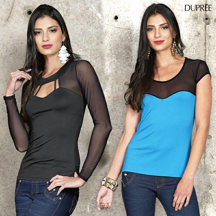 ¡Usa transparencia! Una manera elegante y sutil de usar esta tendencia es en blusas que tengan algunas zonas elaboradas en tul. ¡Anímate a usarla!