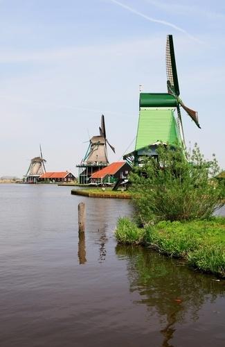 Traditional windmills at Zaanse Schans village.