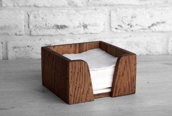 Rustic napkin holder Square table napkin box holder Horizontal vintage wood napkin holder Farmhouse Vintage Kitchen Unique wooden bar caddy