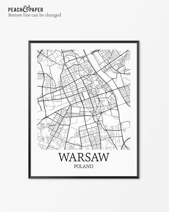 Warsaw Map Art Print, Warsaw Poster Map of Warsaw Decor, Warsaw City Map Art, Warsaw Gift, Warsaw Poland Art Poster