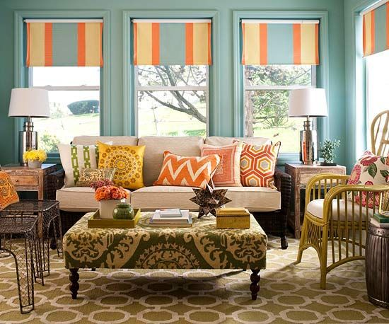 for my summer home?: Colors Trends, Living Rooms, Colors Schemes, Window Treatments, Rollers Shades, Rooms Colors, Bright Colors, Sun Rooms, Sunroom