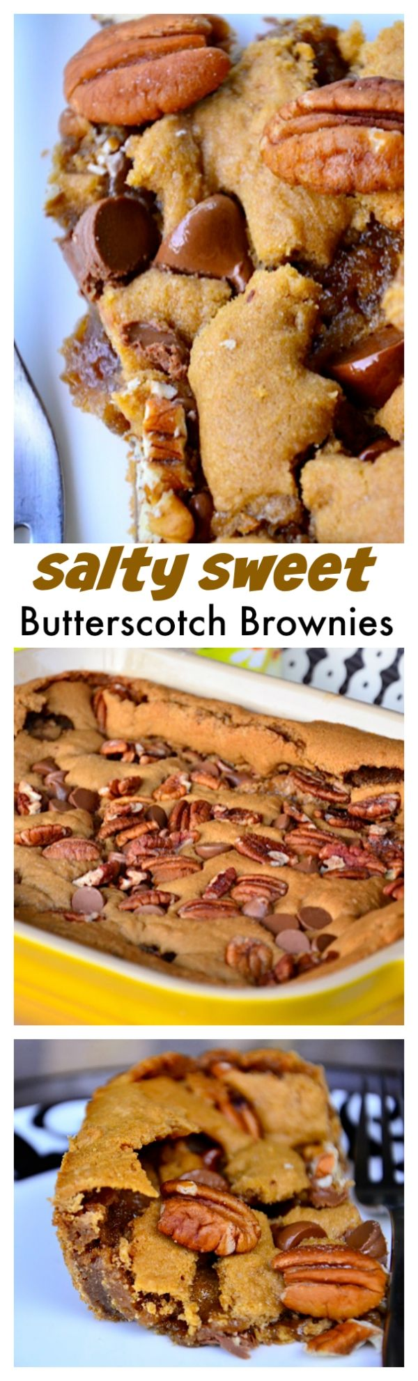 Salty Sweet Butterscotch Brownies | ReluctantEntertainer.com