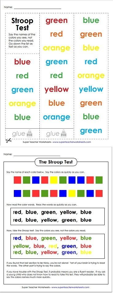 Have your students try the Stroop Test! Say the colors that are printed on the page, not the color words that are spelled out. This one will be tricky for fluent readers!