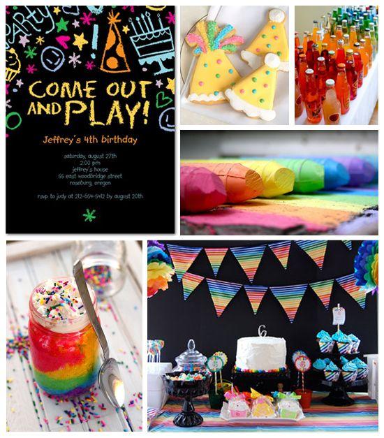 Rainbow birthday inspiration board from Tiny Prints.: Kids Parties, Rainbow Birthday Parties, Rainbows Birthday Parties, Inspiration Boards, Chalk Boards, Rainbows Parties, Parties Ideas, Birthday Ideas, Parties Inspiration