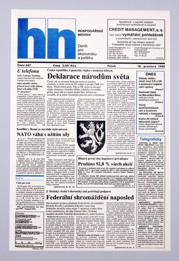 18.12.1992 - Česká republika si po rozdělení Československa ponechá vlajku s klínem