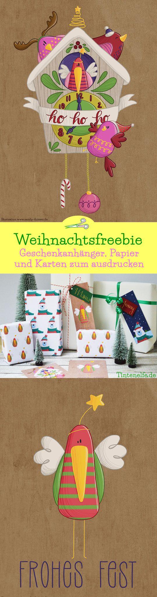 #'xmasillublogparade weihnachtliche Geschenkanhänger, Geschenkpapier und Postkarten als Freebie. Geschenkidee zu Weihnachten. Geschenke schön und weihnachtlich verpacken mit süßen und lustigen Illustrationen von Sandy Thissen