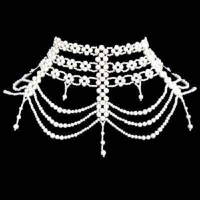 ELEGANT WHITE HAND BEADED GRAND GOTHIC VICTORIAN NECKLACE EARRINGS SET