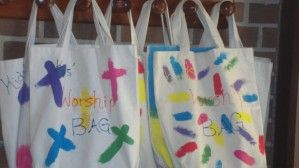 """Worship Bags: """"filled with age-appropriate materials related to the worship service to enhance your child's worship experience. Included in these bags are a children's worship bulletin, children's offering envelopes, and much more! Please pick one up on your way in to the service and return it to the same location after the service."""" @Debbie Hyde"""