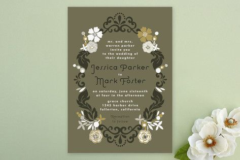 Floral frame invites by Alathea and Ruth on minted.com