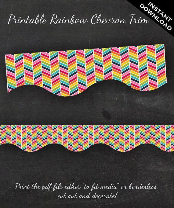 Classroom Bulletin Board Trim - Printable Rainbow Chevron Border Instant Download - Teacher Tools Homeschool Chores on Etsy, $5.62 AUD
