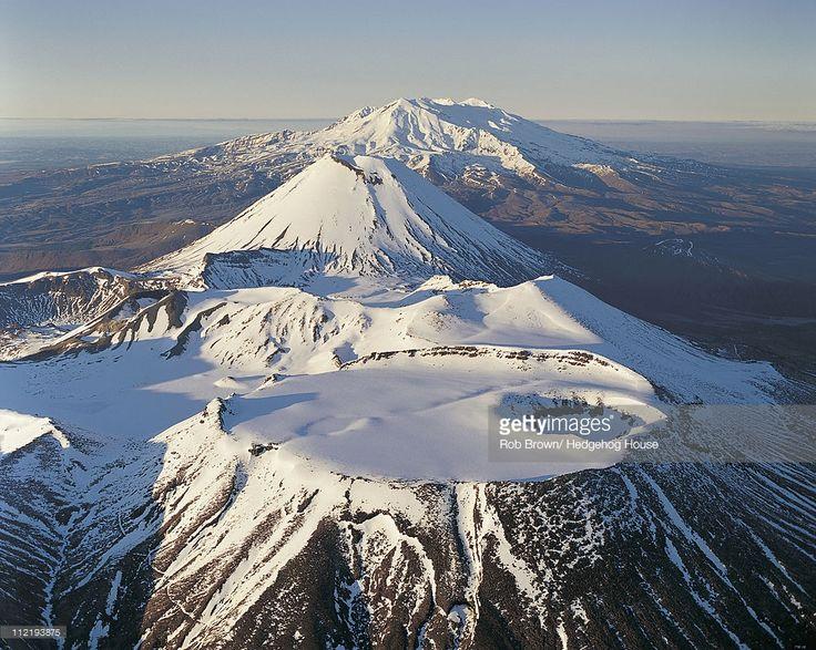 Mount Tongariro, Mount Ngauruhoe and Mount Ruapehu, Tongariro National Park, New Zealand