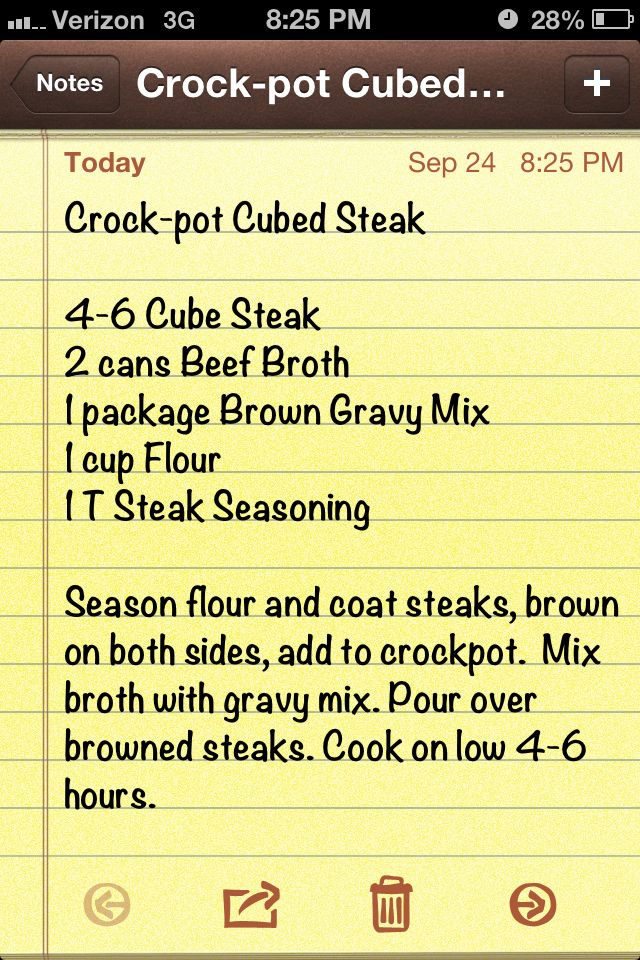Crockpot cubed steak