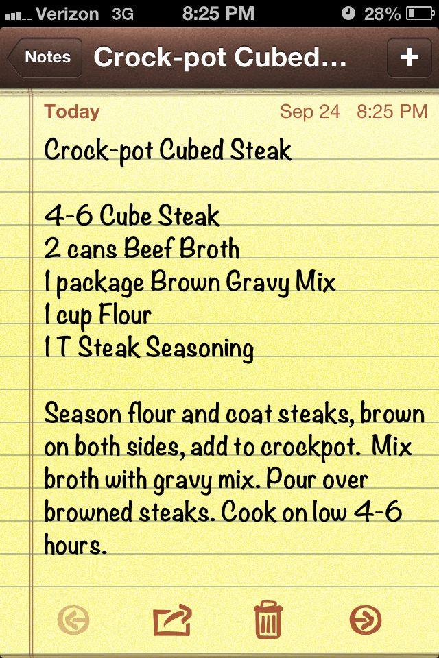 Crockpot cubed steak