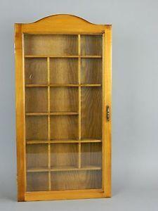 Vintage Wood Curio Cabinet Shadow Box Wall Hanging Hinged Beveled Glass Door
