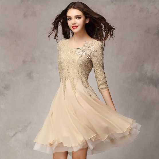 2017 spring summer women's fashion organza dress knee length lace bottom expansion one-piece dress wedding party dress
