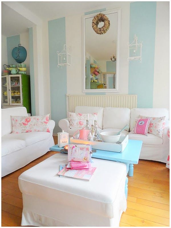 Pastel Blue Wall Color And White Furniture Shabby Chic Living Room Decor  Ideas