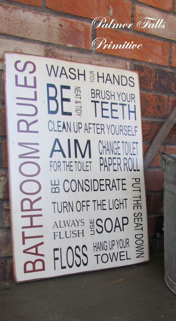 Family Bathroom Rules Version 1 Typography Wood by palmerfalls, $55.00