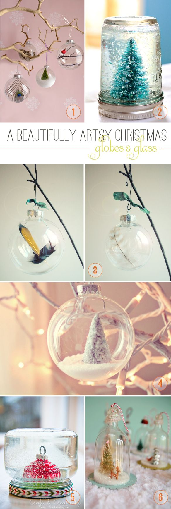 DIY Christmas Snow Globes and Glass Ornaments  from Beautiful Hello Blog