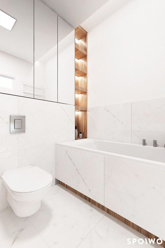 Minimalistyczna łazienka, aranżacja łazienki, elegancka łazienka, biała łazienka. Zobacz więcej na: https://www.homify.pl/katalogi-inspiracji/29865/5-pieknych-bialych-lazienek