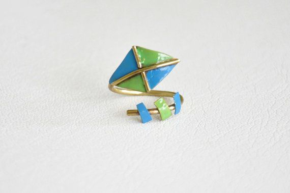 Kite brass ring Enamel painted Made to order item by zOOzART, $22.00