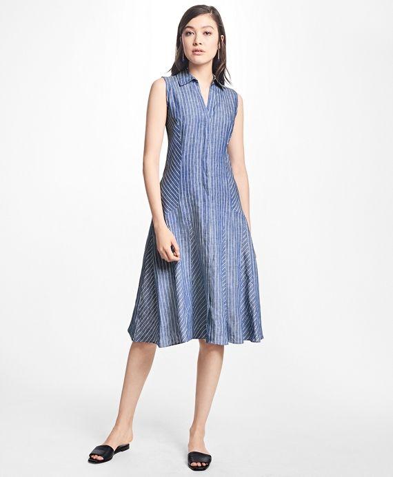 Striped Linen Shirt DressBlue