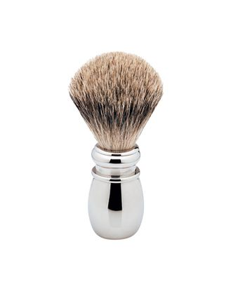 The Ice Chrome Pure Badger Brush. This  brush is a limited edition model, in cooperation with Erbe of Germany. The heavy, polished chrome handle features a knot of genuine pure badger hair. Available at House of Knives.