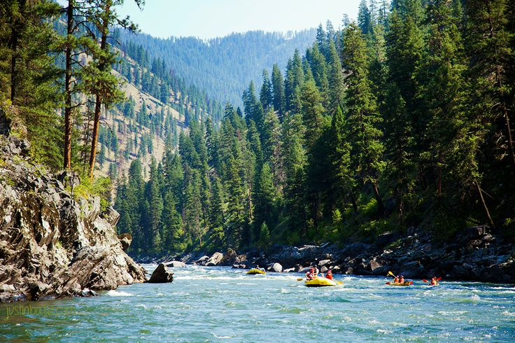 Middle Fork Salmon River rafting = 100 winding miles of river, more than 100 sets of rapids and pristine alpine scenery. Who wants to Visit Idaho?