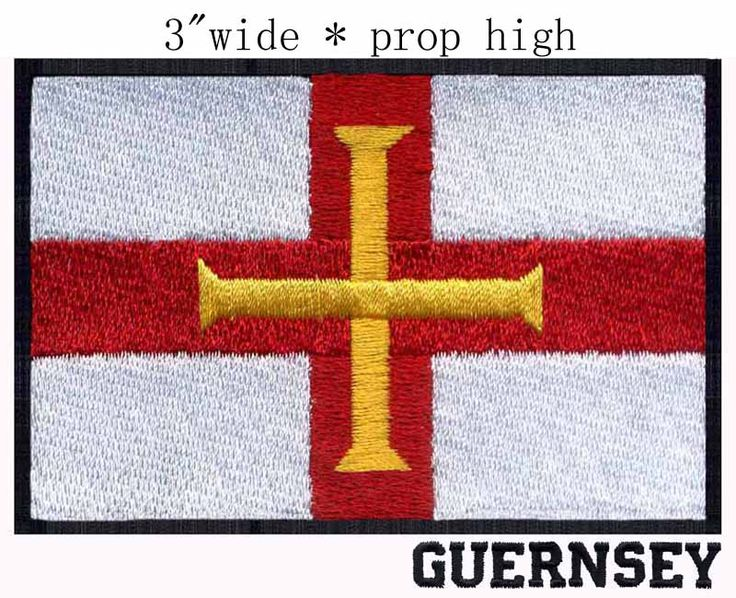 """Guernsey, Flag 3"""" wide embroidery patch  for the boat/surfing/La Villaize #Affiliate"""