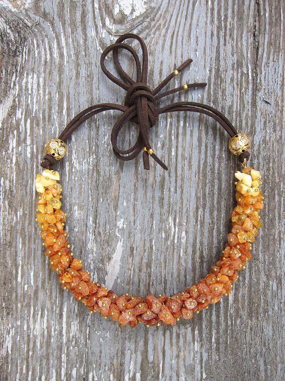 Honey. Natural baltic amber statement bib chunky by JaneRJewelry