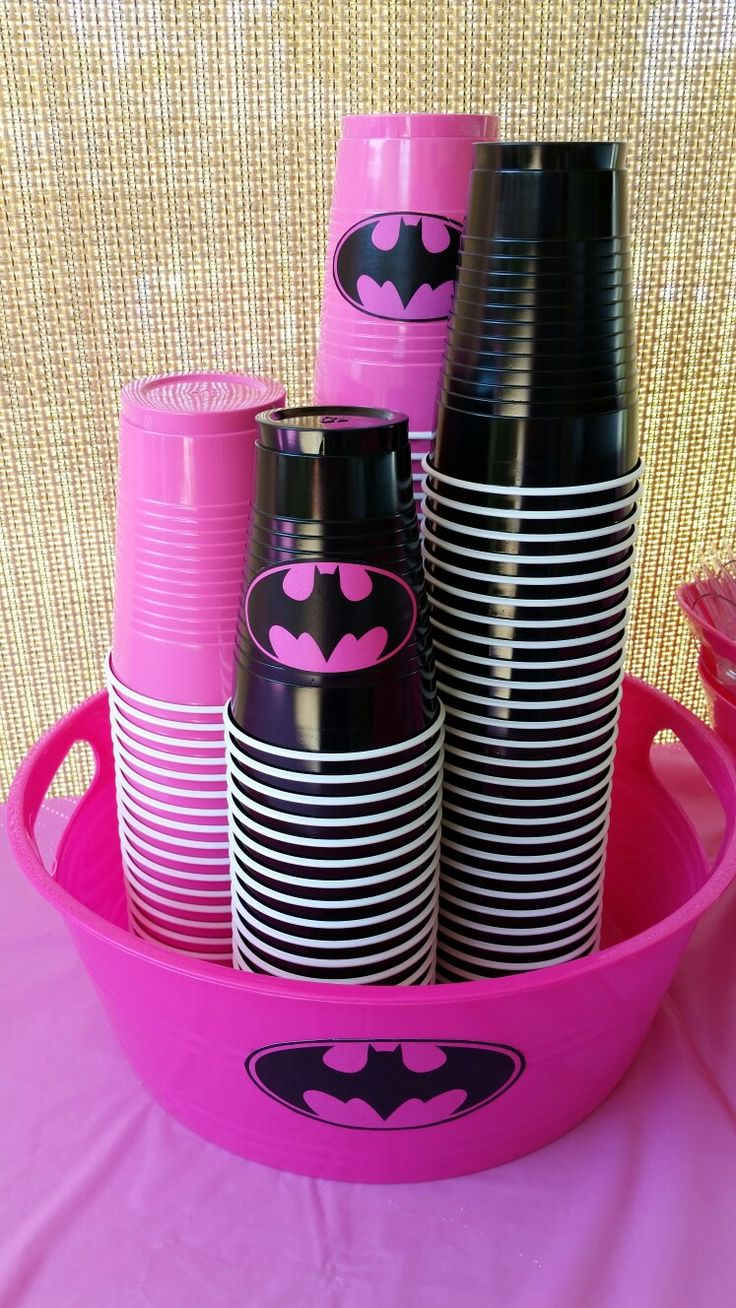 Batgirl theme bday party-cups