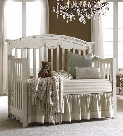 Distressed white crib