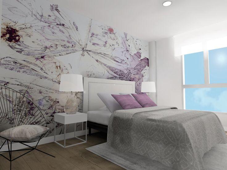 Diseño de dormitorio con revestimiento vinilico en pared y composición de colores. #carmaninteriorismo, #proyecto, #diseño, #interiorismo, #dormitorio