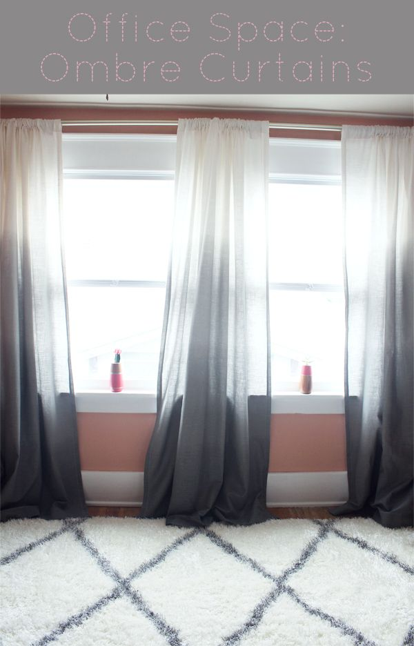 Gray and White Ombre Curtains from Target are the perfect addition to brighten up your office space. Let that light shine through! Take a peek at this Moroccan Wool Shag Rug! www.craftbaby.com