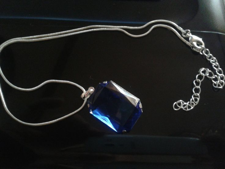 blue point on silver chain