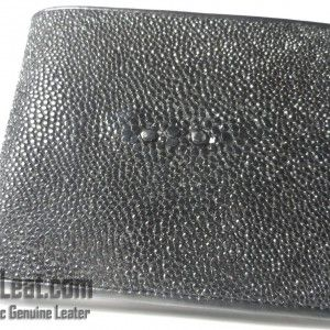 Exotic Spesial edition Dompet Kulit Pria Kulit Ikan Pari Hitam Polos Batu Besar | CowLeat.com ~ All Exotic Genuine Leather
