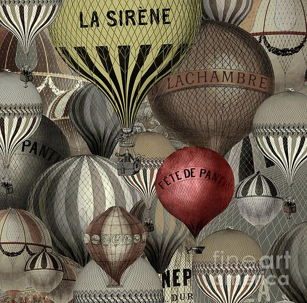 Vintage French Air Balloons Print by Mindy Sommers