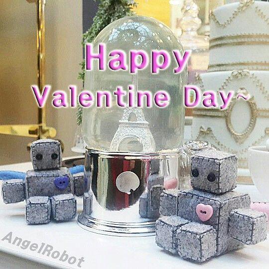 Happy Valentine Day with Angel Robot