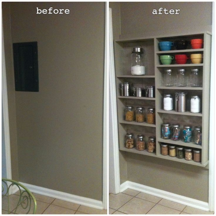 Shallow Open Pantry Shelves In Kitchen