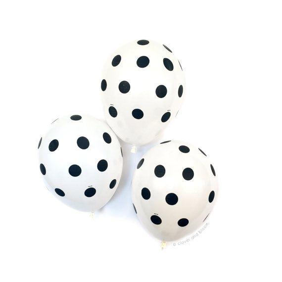 Black & White Polka Dot Balloons - Dot Balloons - Birthday Party Decor // Graduation Party // Black White Party Supplies // Wedding Decor